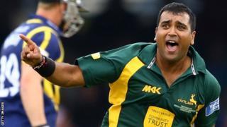 Samit Patel celebrates one of his three wickets against Glamorgan