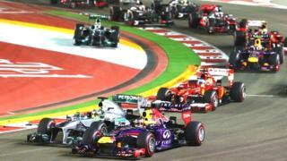 Sebastian Vettel leads at the start of the Singapore Grand Prix