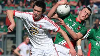 Tyrone's Christopher Morris and Diarmuid O'Connor of Mayo in action during the All-Minor final which Mayo won 2-13 to 1-13