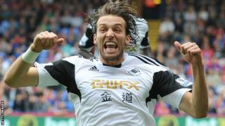 Michu celebrates his goal against Crystal Palace