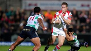 Ulster full-back Craig Gilroy secures possession during Ulster's 32-13 win over Treviso