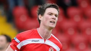 Peter McMahon scored the winning goal for Portadown against Glentoran at Shamrock Park