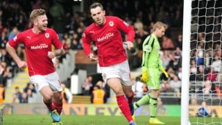 Deep in injury time at Craven Cottage, substitute Jordon Mutch scores his first Cardiff goal to claim victory over Fulham