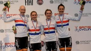 (l-r) Jo Rowsell, Laura Trott, Elinor Barker and Dani King after winning the 4km pursuit at British Track Championships