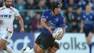 Richardt Strauss in action for Leinster against the Ospreys last month