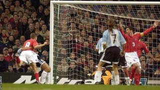 Results under Hughes improve and in an illustrious friendly at the Millennium Stadium in early 2002, Bellamy gives Wales the lead against Argentina, who hit back to draw 1-1