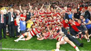 Wigan celebrate their Grand Final victory