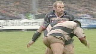 Heineken Cup: Pontypridd's Dale McIntosh tackles Bath's Andy Robinson in 1997