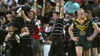 New Zealand celebrate winning the 2008 Rugby League World Cup
