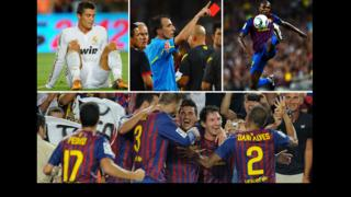 Cristiano Ronaldo looks downcast; the referee brandishes a red card; Eric Abidal controls the ball in mid-air; Barcelona players celebrate