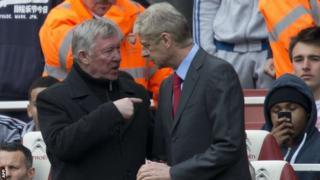 Former Manchester United manager Sir Alex Ferguson (left) with Arsenal's Arsene Wenger
