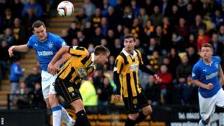Jon Daly scores for Rangers against East Fife