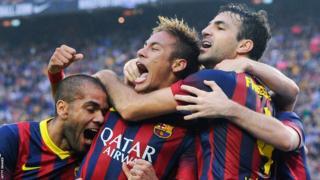 Barcelona forward Neymar celebrates his El Clasico goal against Real Madrid