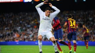 Real Madrid forward Cristiano Ronaldo expresses his frustration against Barcelona