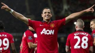 Javier Hernandez celebrates scoring against Norwich