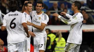 Gareth Bale celebrates with Real Madrid team mates