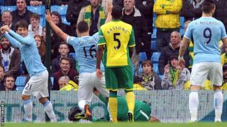 Manchester City celebrate scoring a goal against Norwich