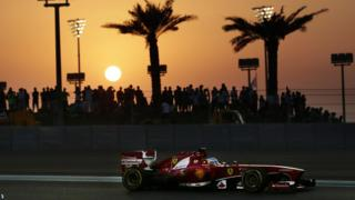 Fernando Alonso drives his car during the qualifying session ahead of the Abu Dhabi Grand Prix at the Yas Marina racetrack