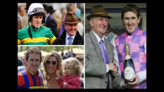 AP McCoy with trainers Jonjo O'Neill and Martin Pipe; plus his wife Chanelle and daughter Eve