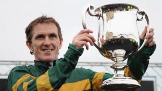 Tony McCoy celebrates his 4,000th winner