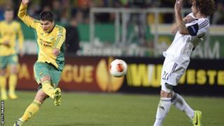 Arsen Khubulov shoots against Swansea