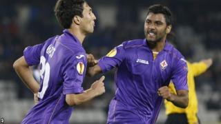 Fiorentina's Ryder Matos and Marvin Compper celebrate
