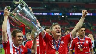 Bayern Munich winning the Champions League in 2013