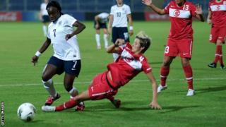 England's Eniola Aluko is challenged against Turkey