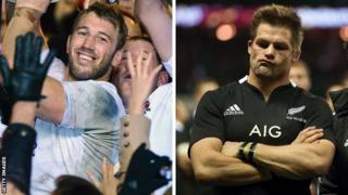 Victorious England captain Chris Robshaw and defeated All Black counterpart Richie McCaw in 2012