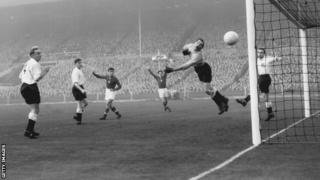 England goalkeeper Gil Merick in action against Hungary in 1953