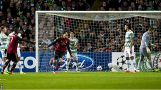 Kaka wheels away after scoring AC Milan's first goal v Celtic