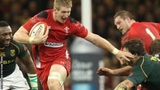 Bradley Davies in action for Wales against South Africa