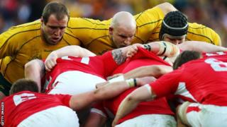 Wales scrum down against Australia