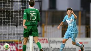 Mark Surgenor celebrates after scoring Ballymena United's first goal in their 2-1 win at home to Ballinamallard United