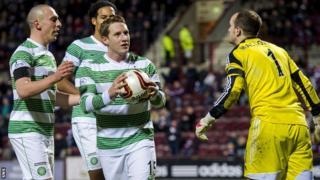 Kris Commons celebrates with his Celtic team-mates