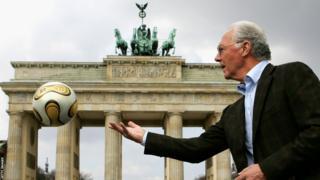 Germany's former World Cup winning captain and coach Franz Beckenbauer at Brandenburg Gate in Berlin