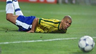 Brazilian star Ronaldo watches the Tricolore ball go inches wide in the 1998 World Cup semi-final match with Netherlands.