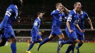 Gerard Deulofeu celebrates his equaliser at Arsenal