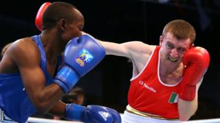 Paddy Barnes in action against Simon Nzioki at the 2013 AIBA World Boxing Championships in Kazakstan