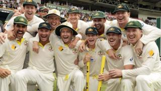 Australia celebrate after regaining the Ashes