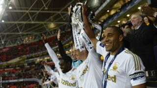 Swansea City's Ashley Williams and Garry Monk hold aloft the Football League Trophy at Wembley following their 5-0 final win over Bradford City.
