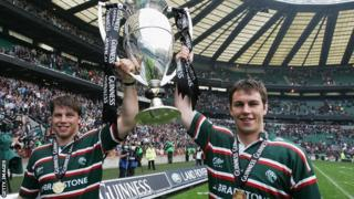 Brett Deacon (left) and brother Louis celebrate Leicester's 2007 Premiership final win against Gloucester