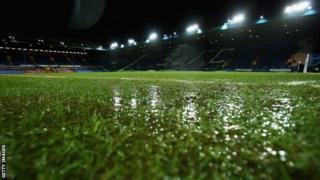 Waterlogged pitch at Hillsborough