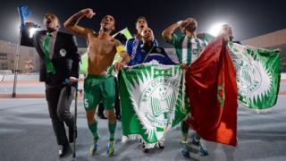 Raja Casablanca players celebrate victory over Atletico Mineiro