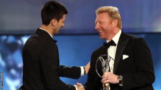 Novak Djokovic and Boris Becker at the 2012 Laureus World Sportsman of the Year awards