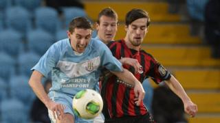 Gary Thompson and Declan Caddell in action as Crusaders lose their 24-game unbeaten run at Ballymena