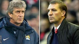 Manchester City manager Manuel Pellegrini (left) and Liverpool boss Brendan Rodgers