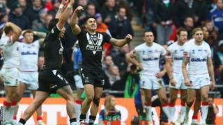 New Zealand celebrate a narrow 20-18 win over England in the Rugby League World Cup