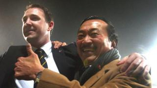 Former Cardiff manager Malky Mackay (l) and owner Vincent Tan