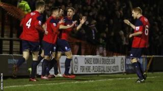 Mike Phenix celebrates Telford's late equaliser against Hednesford on Boxing Day
